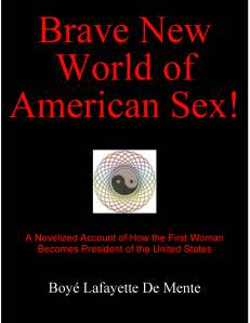 "This is a fictionalized account of how the misunderstanding and misuse of male and female sexuality leads to a chain of sex clinics [where patients get the ""real thing""] that becomes the largest enterprise in the world and results in the election of the first female president of the U.S. - with a startling end."